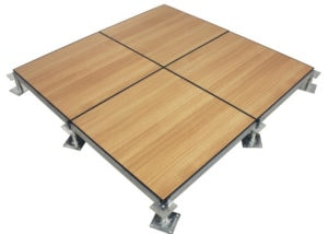 raised floor systems with wood flooring finish