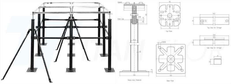 Drawing of Anti static calcium sulphate floor Heavy-duty Pedestal