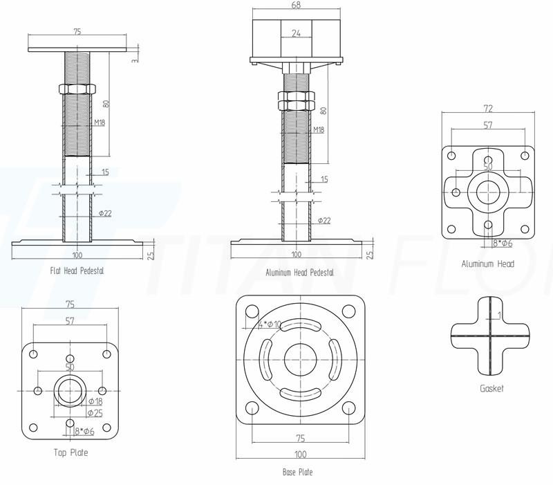 raised floor tube type pedestal drawing