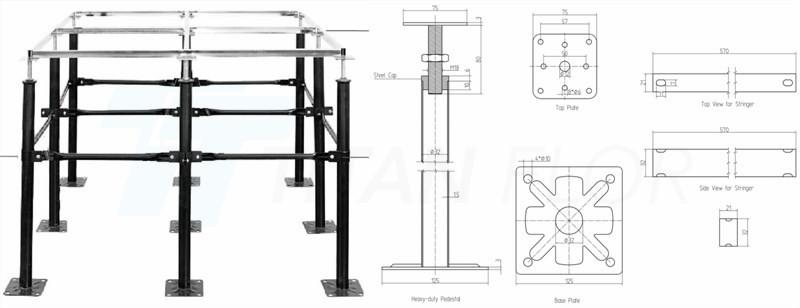 raised floor heavy-duty pedestal and stringer